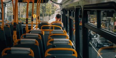 Man alone on a bus