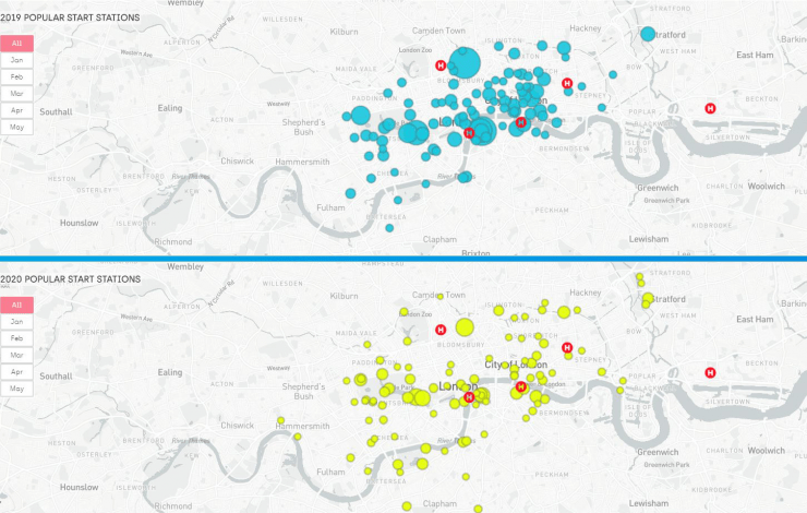 Map showing most popular start points for cycle hire